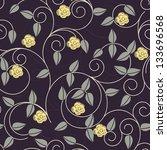 vector seamless dark floral...   Shutterstock .eps vector #133696568