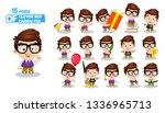 spectacled brunette boy in... | Shutterstock .eps vector #1336965713