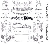 set of decorative hand drawn... | Shutterstock .eps vector #1336965929