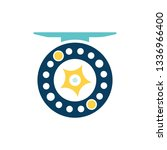 fishing reel icon. flat color... | Shutterstock .eps vector #1336966400