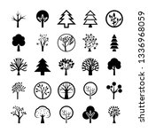 tree symbols icon set  | Shutterstock .eps vector #1336968059