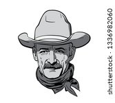 man face with cowboy hat....   Shutterstock .eps vector #1336982060