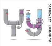 pipe letter. alphabet in... | Shutterstock .eps vector #1337008610
