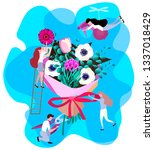 small people making big bouquet ... | Shutterstock .eps vector #1337018429