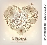 floral heart for valentines day. | Shutterstock . vector #133706150