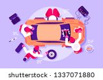 workers in car service checking ... | Shutterstock .eps vector #1337071880
