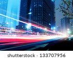 light trails on the street in...   Shutterstock . vector #133707956