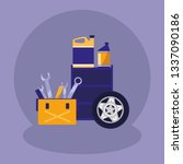 tools box mechanic with oil... | Shutterstock .eps vector #1337090186