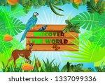 outdoor tourism concept  jungle ... | Shutterstock .eps vector #1337099336
