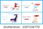 flat banner set happiness in... | Shutterstock .eps vector #1337136770