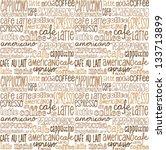 coffee words seamless...   Shutterstock .eps vector #133713899