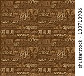 coffee words seamless... | Shutterstock .eps vector #133713986