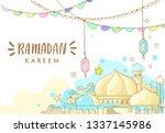 hand drawn sketch of lantern... | Shutterstock .eps vector #1337145986