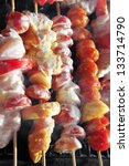 chicken shish kebab on bbq...