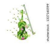 paper art with violin... | Shutterstock .eps vector #1337160599
