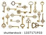 set of vintage golden skeleton...   Shutterstock . vector #1337171933