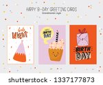 happy birthday poster with cute ... | Shutterstock .eps vector #1337177873