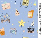 happy birthday kids set with... | Shutterstock .eps vector #1337177876