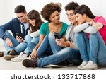 group of happy young friends...   Shutterstock . vector #133717868