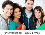 portrait of happy students... | Shutterstock . vector #133717988