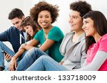 group of happy smiling friends... | Shutterstock . vector #133718009
