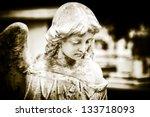 Vintage Image Of A Sad Angel O...