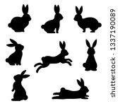cute black rabbit silhouette... | Shutterstock .eps vector #1337190089