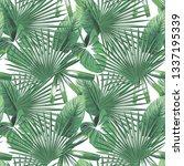 modern green tropical leaves... | Shutterstock .eps vector #1337195339