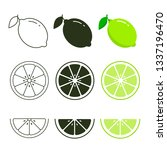 lime icon set fresh fruits ... | Shutterstock .eps vector #1337196470