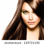 Постер, плакат: Hair Beautiful Brunette Girl