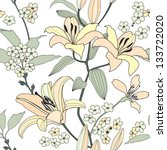 gentle flower lily seamless... | Shutterstock .eps vector #133722020
