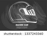 illustration of racer helmet on ... | Shutterstock .eps vector #1337243360