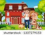 family in front of house... | Shutterstock .eps vector #1337279153