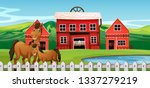 horse at farmland scene... | Shutterstock .eps vector #1337279219