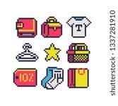 shopping 8 bit pixel art icons... | Shutterstock .eps vector #1337281910