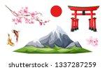japanese realistic symbols set. ... | Shutterstock .eps vector #1337287259