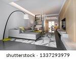 3d rendering modern dining room ... | Shutterstock . vector #1337293979