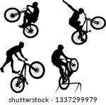 silhouette of male doing bike... | Shutterstock .eps vector #1337299979