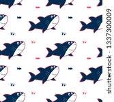 hand drawing shark illustration ...   Shutterstock .eps vector #1337300009