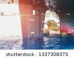 shipyard stern ship mooring...   Shutterstock . vector #1337308373