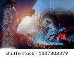 shipyard  ship repair industry...   Shutterstock . vector #1337308379
