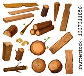 Set Of Isolated Wood Bark And...
