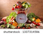 balance with fruit and vegetable | Shutterstock . vector #1337314586