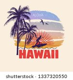 colorful poster with palm trees ... | Shutterstock .eps vector #1337320550