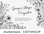 spring magic. horizontal card.... | Shutterstock .eps vector #1337344229