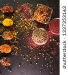 the different spices. spices on ... | Shutterstock . vector #1337353163