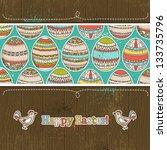 easter eggs on grunge  wooden... | Shutterstock . vector #133735796