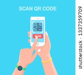 scan qr code to phone. mobile... | Shutterstock .eps vector #1337359709