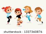 children having fun outdoors....   Shutterstock .eps vector #1337360876