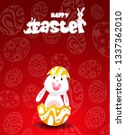 rabbit and eggs in easter day...   Shutterstock .eps vector #1337362010